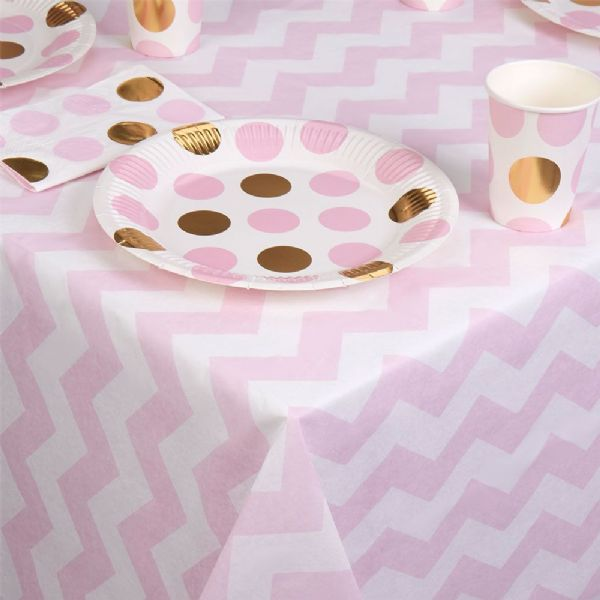 Pattern Works Pink Chevron Table Cloth
